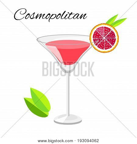 Popular Cosmopolitan cocktail vector cartoon style. Summer long drink isolated on white for restaurant bar menu or beach party banner and flyer