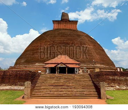 Beautiful view of the ancient Jetavaranama dagoba in the sacred world heritage city of Anuradhapura Sri Lanka