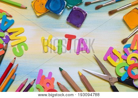 Colorful Letters, School Supplies, German Word