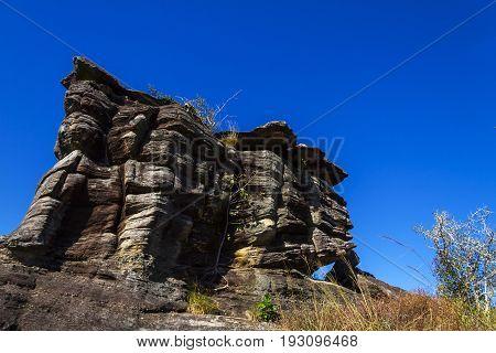 Mushroom stone sunny blue sky at Phu Pha thoep National Park Mukdahan county ofThailand