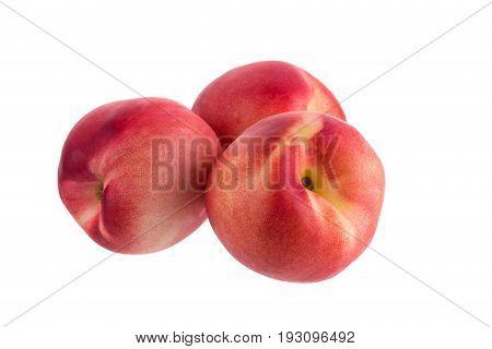 Ripe Fresh Nectarine Fruit Isolated On White Background