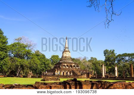 Wat Chang Lom temple and old pagoda in Sisatchanalai Historical Park Sukhothai province Thailand