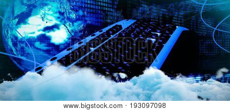 Digitally generated image of fluffy clouds  against business and stock exchange