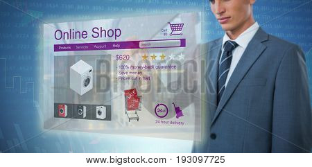 Midsection of elegant businessman pointing against stocks and shares