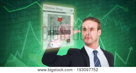 Attentively businessman in suit pointing up  against stocks and shares