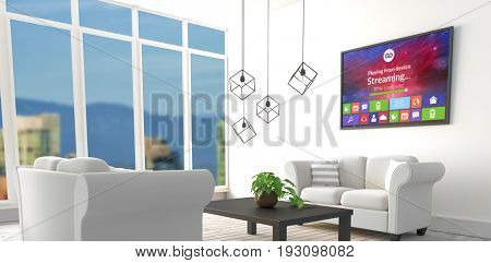 Vector image of various computer icons with progress bar against white sofas in modern living room