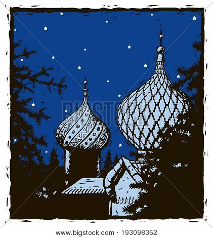 Russian onion domes under a starry night sky. Pine trees are in the foreground. Image is in woodcut / linoleum cut style.