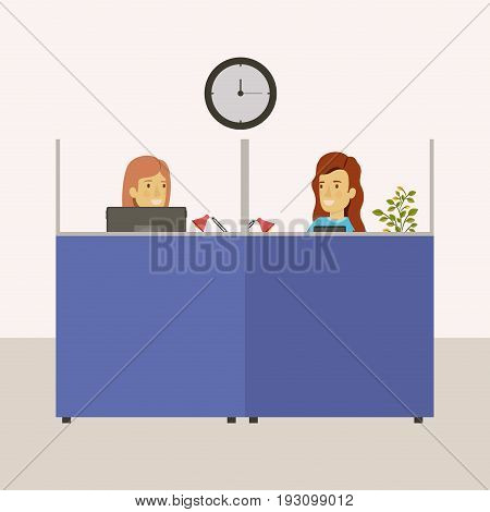 color background cubicles workplace office with female employees vector illustration