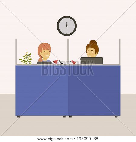 color background cubicles workplace office with young lady and elderly woman employees vector illustration
