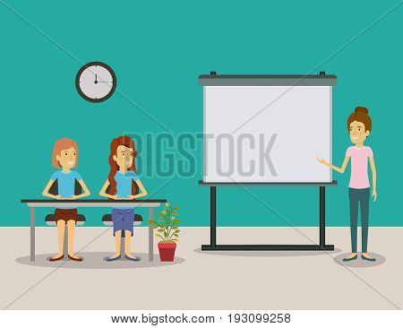 color background couple of women sitting in a desk for female executive in presentacion business people vector illustration