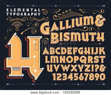 An original lettering design containing capitals, numerals and some punctuation.