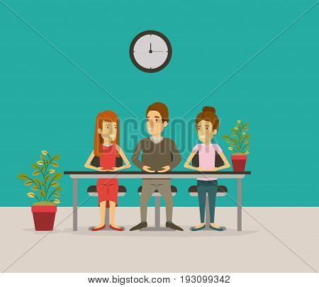 color background with teamwork sitting in desk business people vector illustration