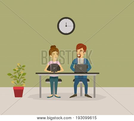 color background with couple man and woman sitting in desk business people vector illustration