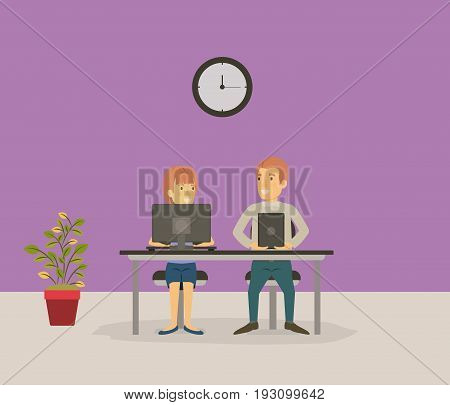color background with couple coworker sitting in desk with tech devices business people vector illustration