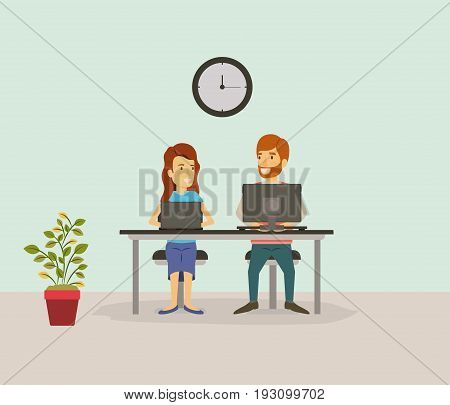 color background with couple worker sitting in desk with tech devices business people vector illustration