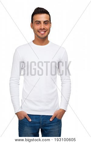 Man wearing a long sleeved blank shirt