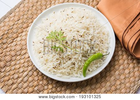 Jeera rice , basmati rice flavored with fried cumin seeds
