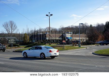 BAY VIEW, MICHIGAN / UNITED STATES - NOVEMBER 26, 2016: One may eat Chinese food at the China Buffet King restaurant.