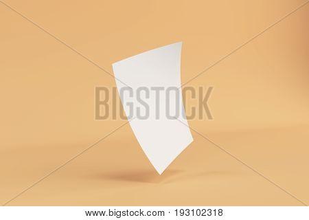 Blank White Bended Flyer Mockup On Orange Background