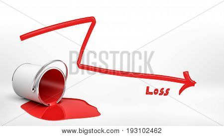 3d rendering of an overturned red paint bucket leaking paint into a puddle beside a red negative arrow and a word 'Loss'. Money loss. Market bust. Negative year results.