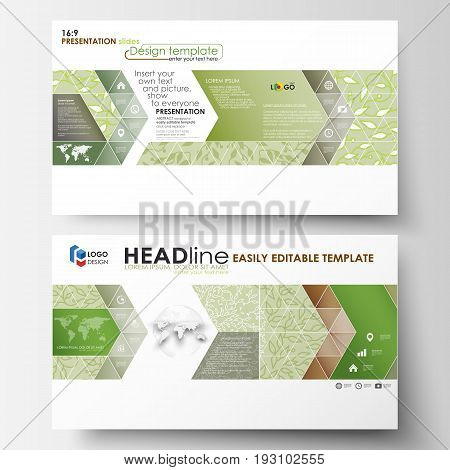 Business templates in HD format for presentation slides. Easy editable abstract layouts in flat design, vector illustration. Green color background with leaves. Spa concept in linear style. Vector decoration for fashion, cosmetics, beauty industry.