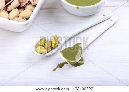 Pistachio urbech. Natural nut paste from pistachio. Dagestani useful delicacy.