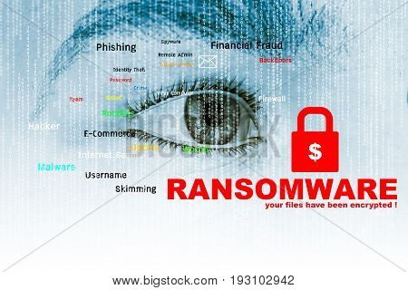 Ransomware,Cyber security concept,3d illustration concept and ideas