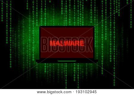 Malware on Laptop screen,Computer hacker or Cyber attack concept background