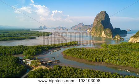 Aerial view of the Phang Nga bay with mangrove tree forest and hills in the Andaman sea, Thailand