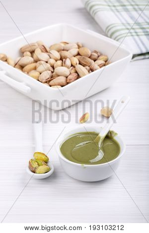 Pistachio urbech. Natural nut paste from pistachio. Dagestani useful delicacy.