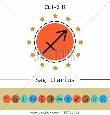 Sagittarius. Signs of zodiac, flat linear icons for horoscope and predictions.
