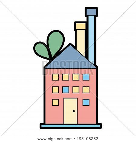 industrial factory to contamination of environment and ecology vector illustration