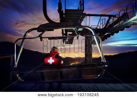 Lifeguard On Mountain Resort At Night