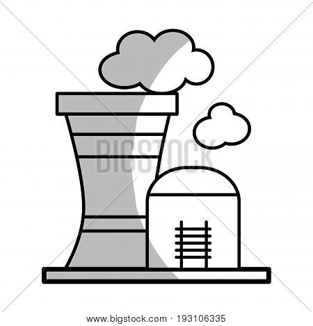 line industrial factory to contamination of environment and ecology vector illustration