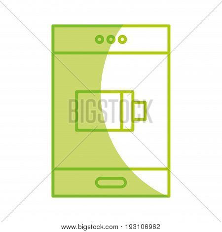 silhouette smartphone with battery power low vector illustration