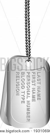 Personal soldier's token with personal information of a serviceman