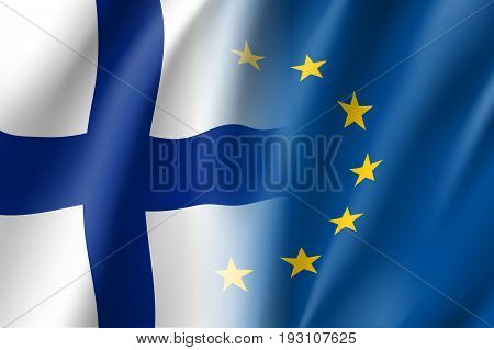 Symbol of Finland is EU member. European Union sign with twelve gold stars on blue and Finland national flag. Vector isolated icon