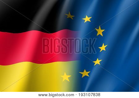 Symbol of Germany is EU member. European Union sign with twelve gold stars on blue and Germany national flag. Vector isolated icon