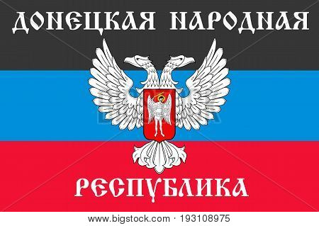 The Donetsk People s Republic flag with text in Russian, self-proclaimed state, two-headed eagle, red, black and blue color. Vector flat style illustration