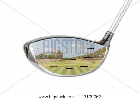 Golf concept the shiny metal golf driver club and green golf course panoramic view inside with white background.