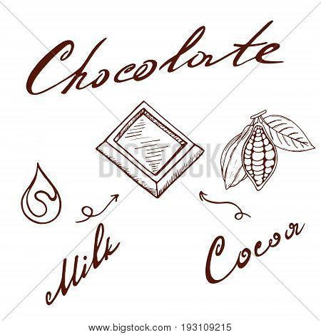 A set of chocolate milk cocoa a piece of chocolate in retro style painted by hand