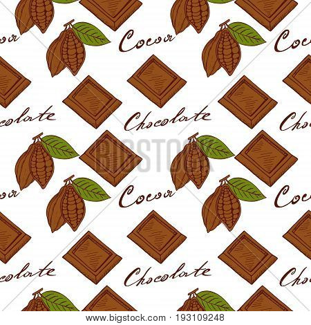 Seamless pattern of cocoa fruits with green leaf, pieces of chocolate, cocoa inscription and chocolate drawn by hand in the style of sketching
