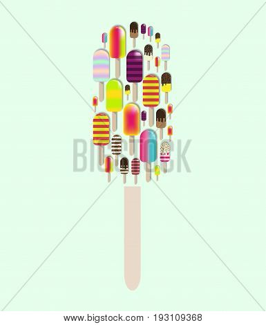 Frozen fruit Juice Popsicles 3d vector icon. Popsicle ice cream. Ice lolly cut out collage. Design for wallpaper, wrapping, fabric, background, apparel, prints, banners etc