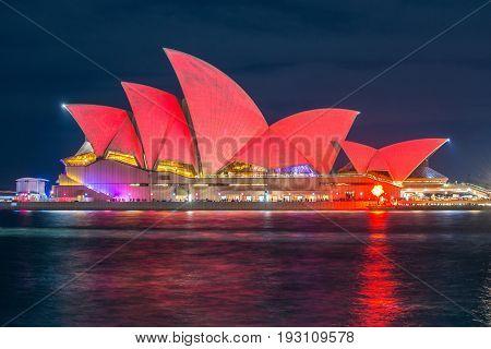 SYDNEY, AUSTRALIA - MAY 29 2015: Vivid Sydney light and sound festival Sydney, Australia.