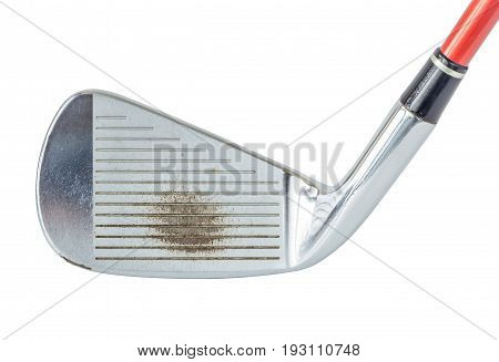 Close up the old metal golf club on white background golf sport concept.