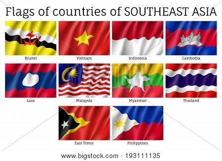 Set of waving flags of members of Asean Economic Community - AEC - Laos, Thailand and Vietnam, Malaysia and Philippines. Signs of Southeast Asia states. Vector isolated icons