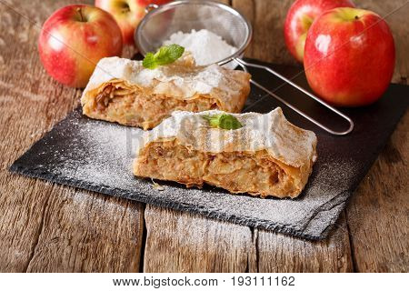Traditional Piece Of Apple Strudel With Powdered Sugar And Mint Closeup. Horizontal