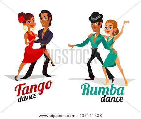 Two cartoon illustrations of a couples dancing tango and rumba isolated on white background. Element for the advertising poster of the school of dance, competitions in Latin American dances