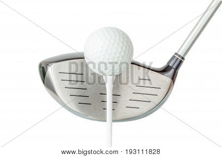 Action of golf club and golf ball on tee with white background golf concept.