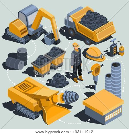 Set of isometric isolated elements of the coal mining industry miner, excavator, dumper, coal trolleys, coal cutter, coal mining plant